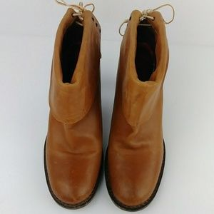 Bronx Shoes - Bronx Cognac Leather Booties Heeled Cuffed Lace-Up
